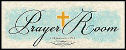 War Room: Prayer Room (Blue Script) - Plaque