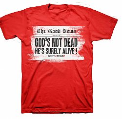 Gods Not Dead 2: The Good News Headline T-Shirt (Red, Small) - T-Shirt